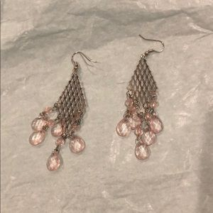 Light pink and silver earrings